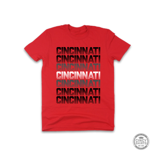 Red & Black Cincinnati Retro - Youth Sizes - Cincy Shirts