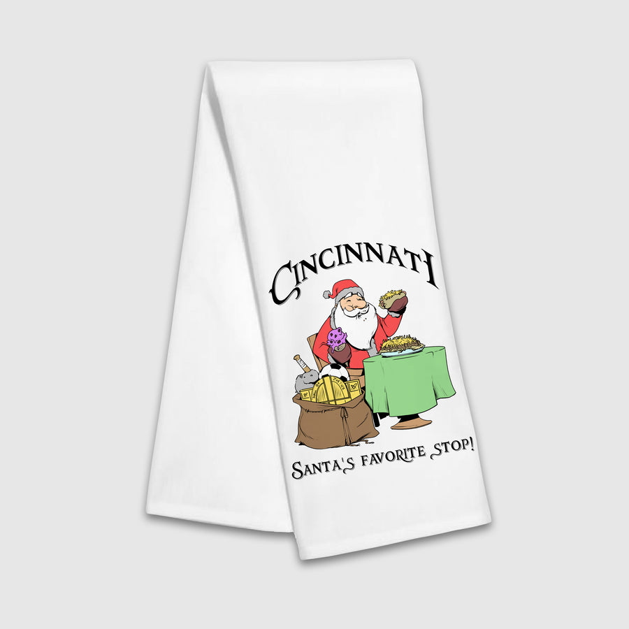 Cincinnati Santa's Favorite Stop Tea Towel - Cincy Shirts