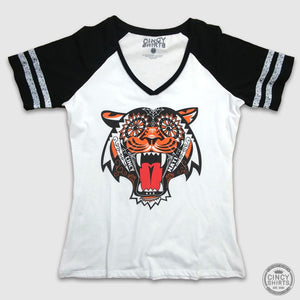 Ladies Tiger Sugar Skull V-Neck Ringer Tee - Cincy Shirts