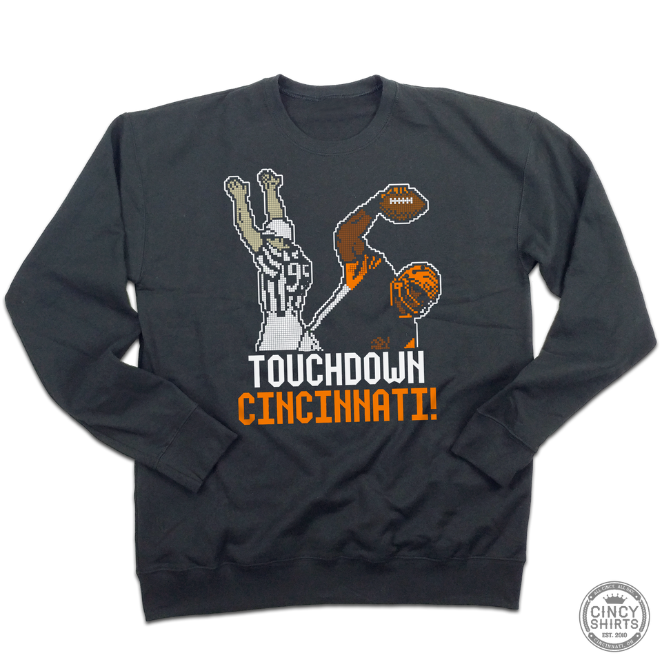 Touchdown Cincinnati Tecmo Crewneck Sweatshirt - Cincy Shirts