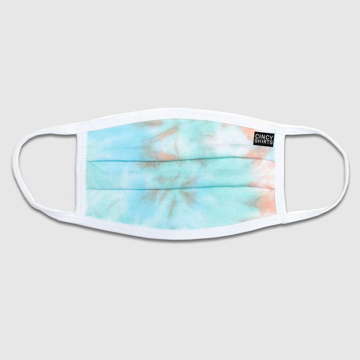 Cincy Shirts Logo Tie-Dye Peach/Teal Face Mask - Cincy Shirts