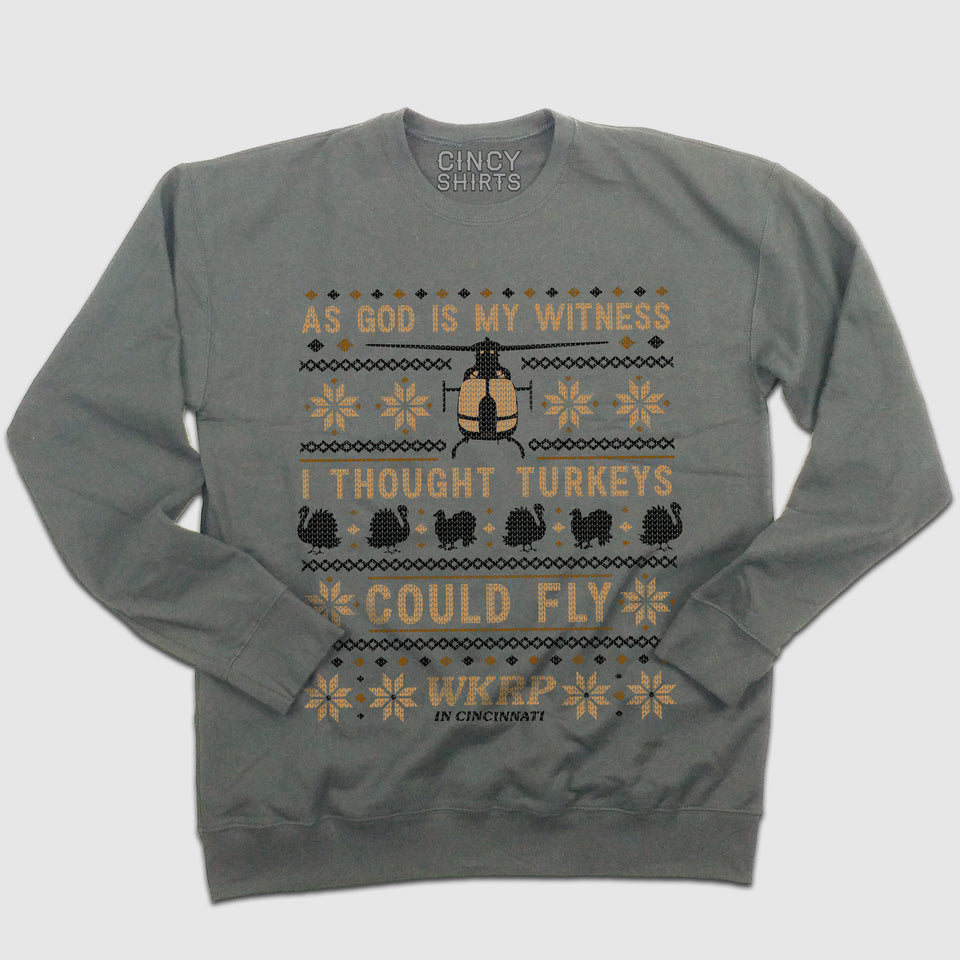 "WKRP ""I Thought Turkeys Could Fly"" - Ugly Thanksgiving Sweatshirt - Cincy Shirts"