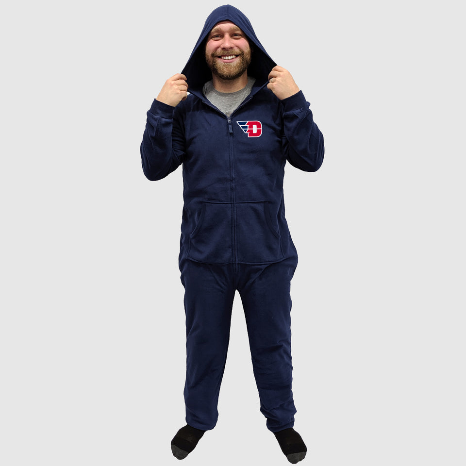 "Dayton ""D"" University Adult Fleece Hooded Pajama Zip-Up Onesie - Cincy Shirts"
