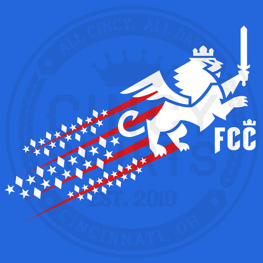 FC Cincinnati Red, White & Blue Streaking Lion - ONLINE EXCLUSIVE - Cincy Shirts