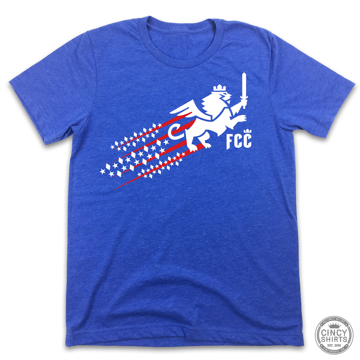 FC Cincinnati Red, White & Blue Streaking Lion - Cincy Shirts