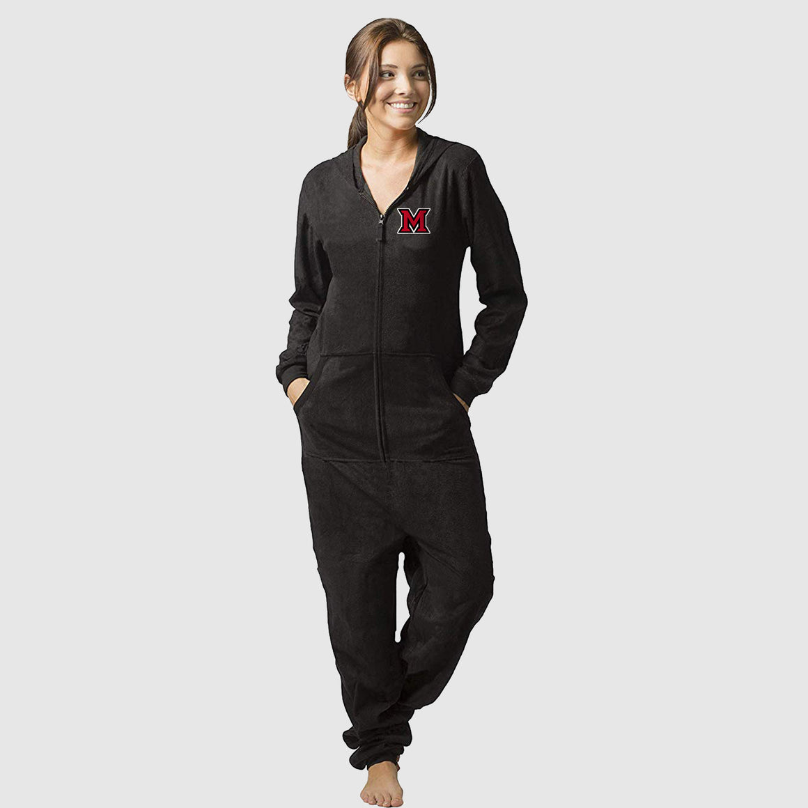 "Miami ""M"" University Adult Fleece Hooded Pajama Zip-Up Onesie - Cincy Shirts"