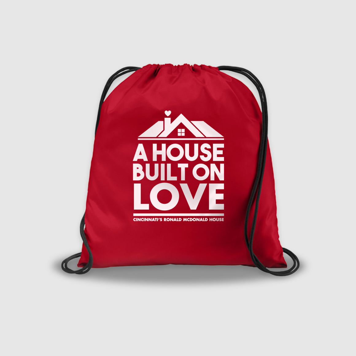 A House Built On Love - Ronald McDonald House Charity Drawstring Backpack - Cincy Shirts