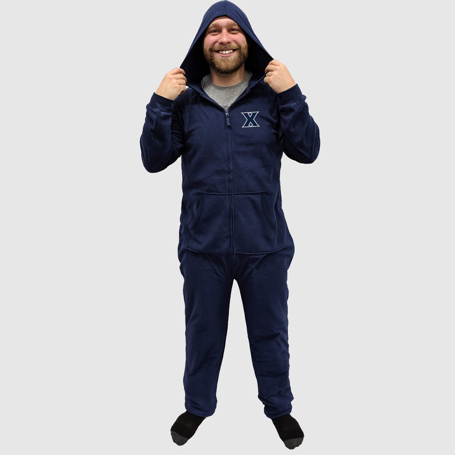 "Xavier ""X"" University Adult Fleece Hooded Pajama Zip-Up Onesie"