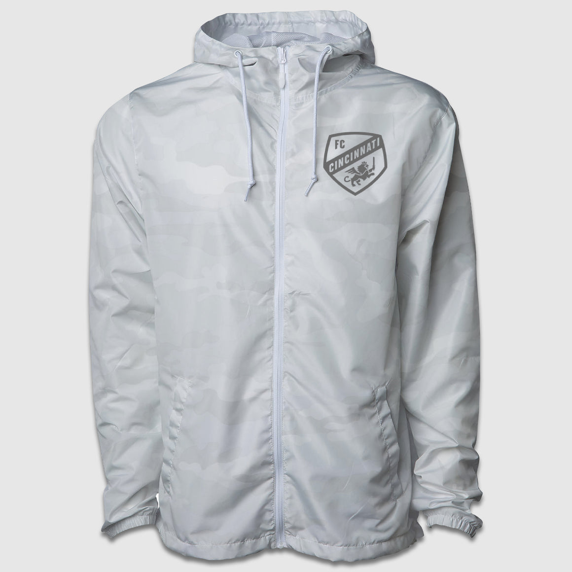 Full Zip FC Cincinnati White Shield Windbreaker Jacket - Cincy Shirts
