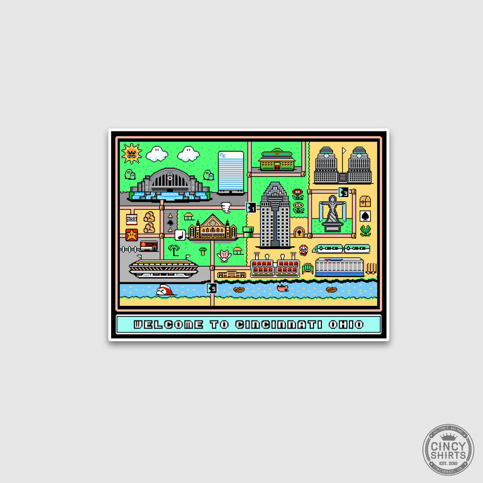 Welcome to Cincinnati Ohio 8-Bit Sticker - Cincy Shirts