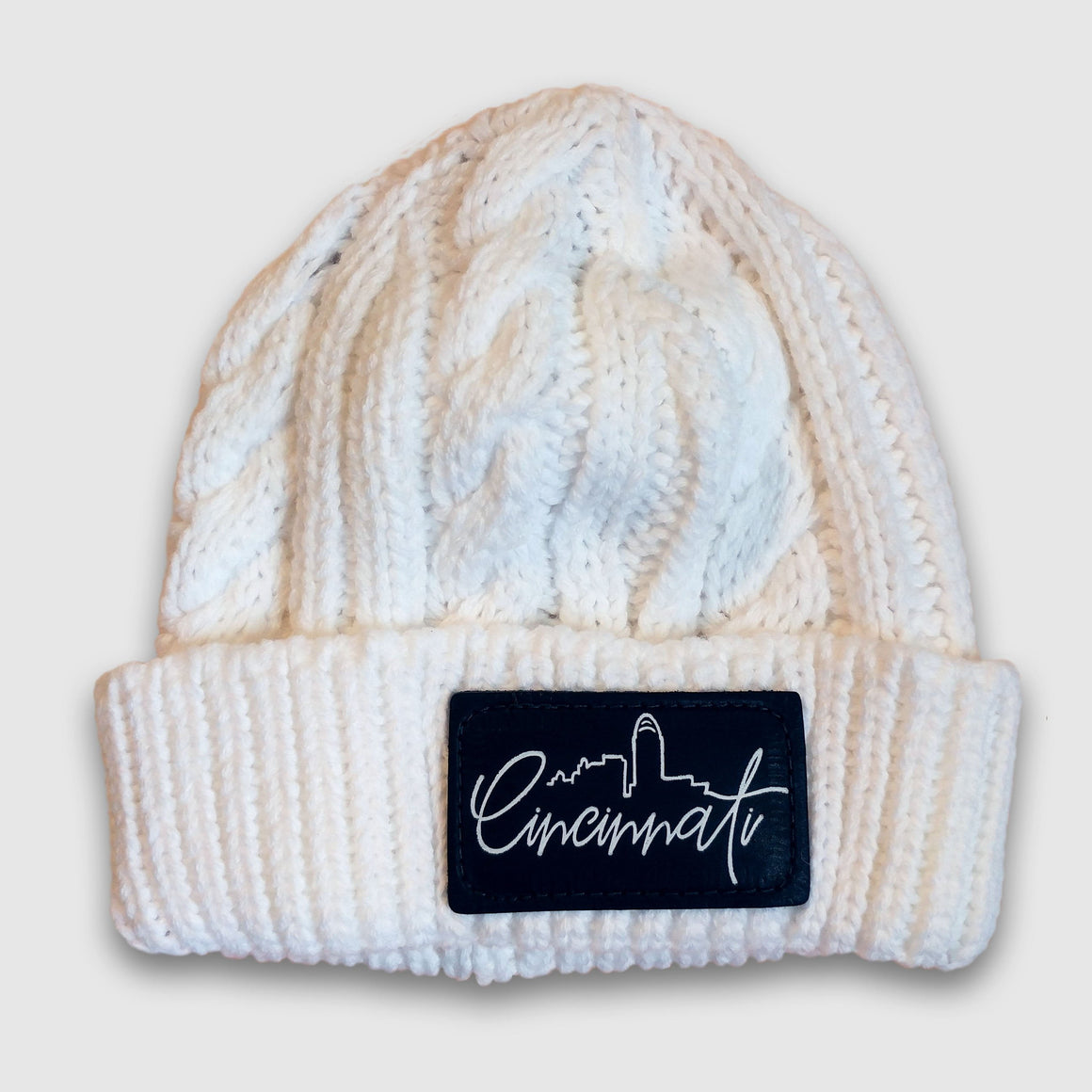 Cincinnati Patch Knit White Beanie