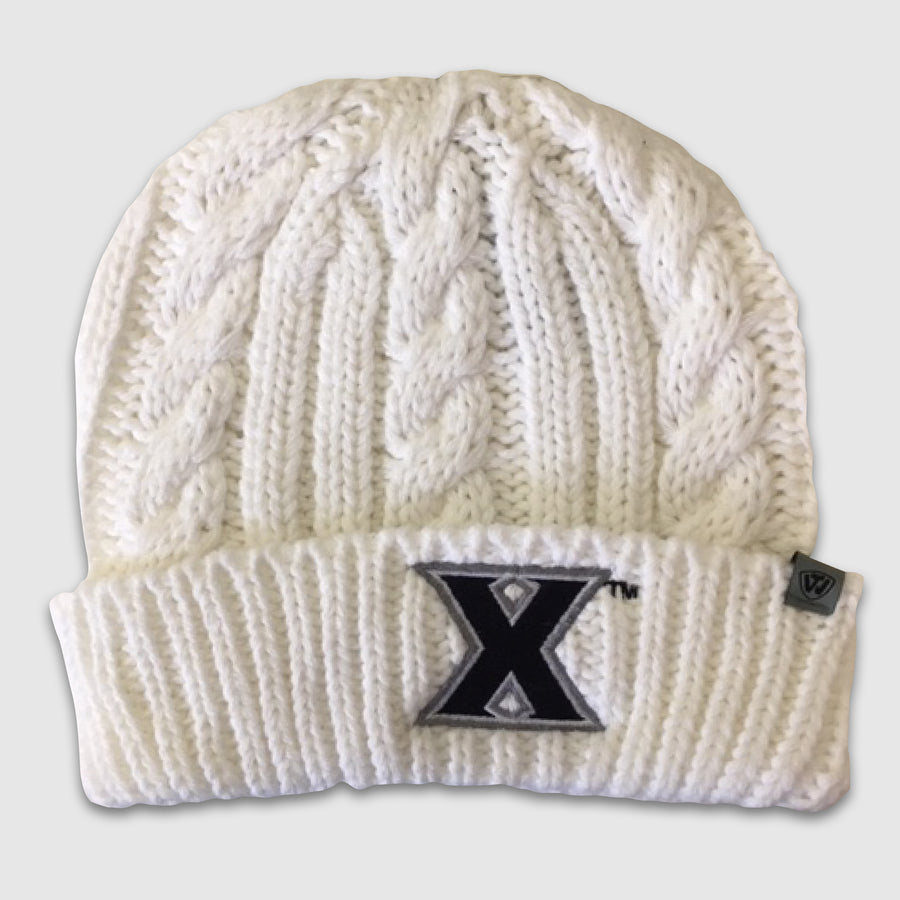 "Xavier University ""X"" White Knit Beanie - Cincy Shirts"