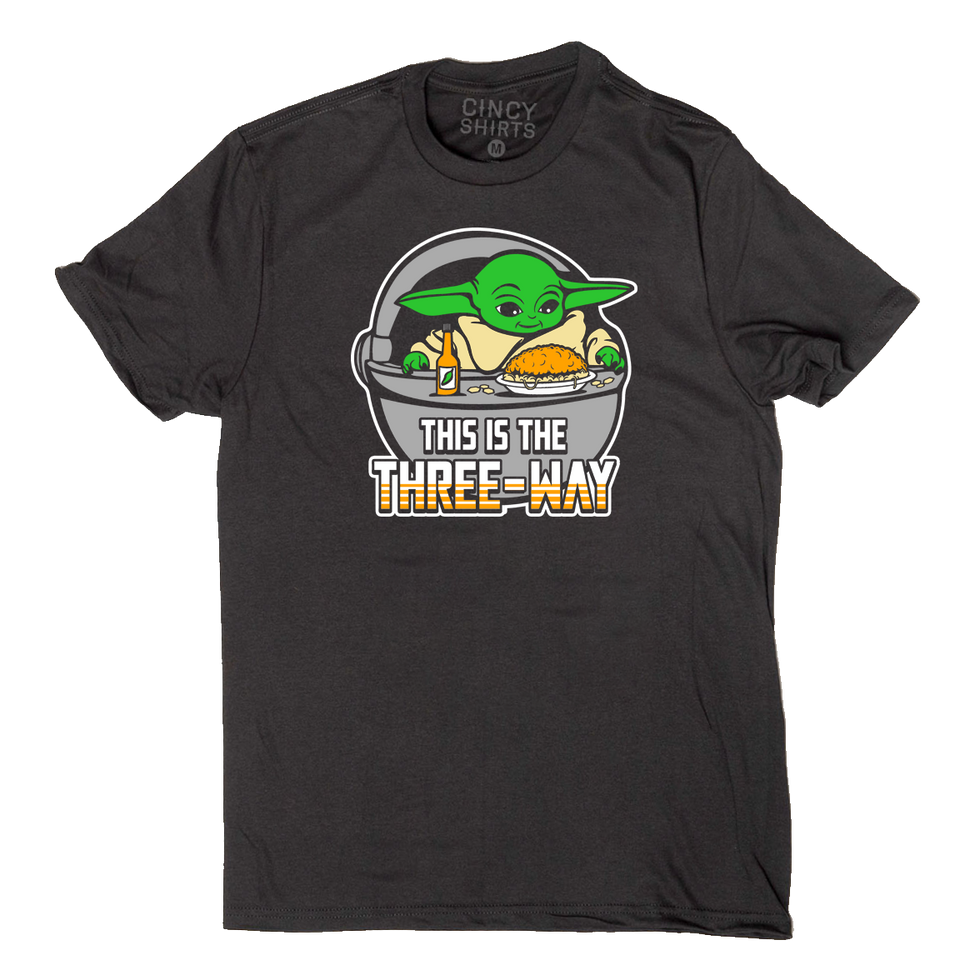 This is the Three-Way Black tee