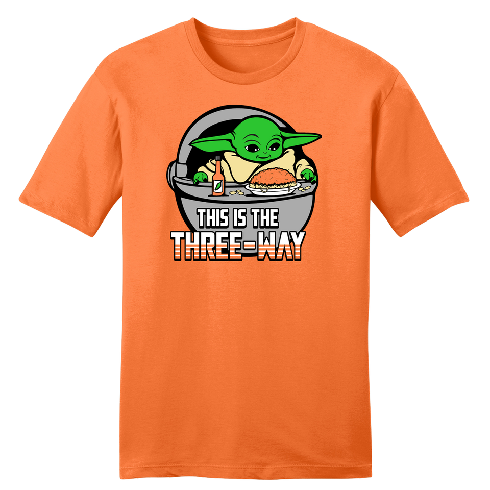 This is the Three-Way Orange tee