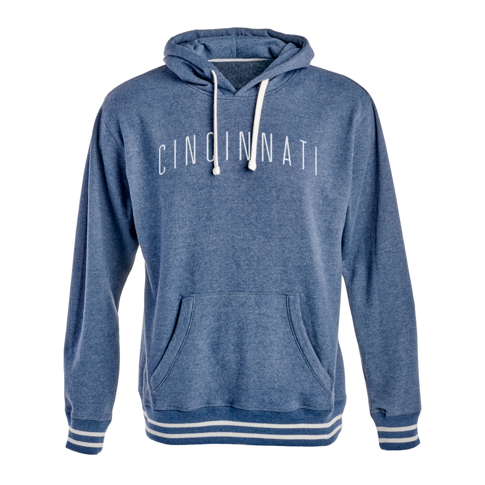 Cincinnati Ladies Relay Hooded Sweatshirt - Heather Navy - Cincy Shirts