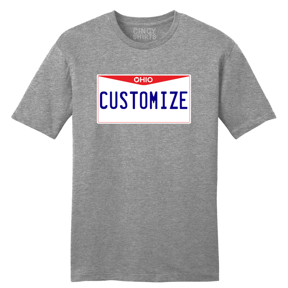 Ohio License Plate Custom T Shirt - Cincy Shirts