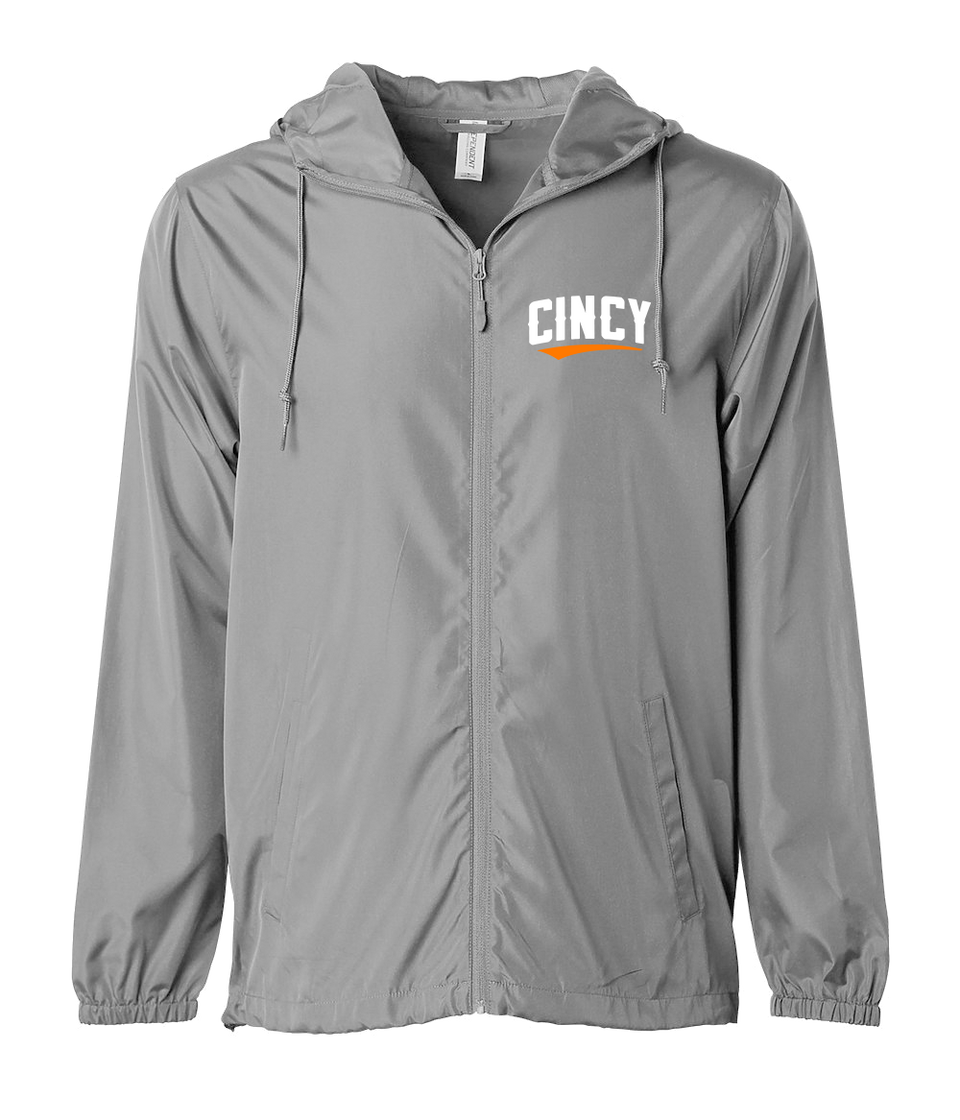 Cincy Orange Swoop Windbreaker Graphite Grey