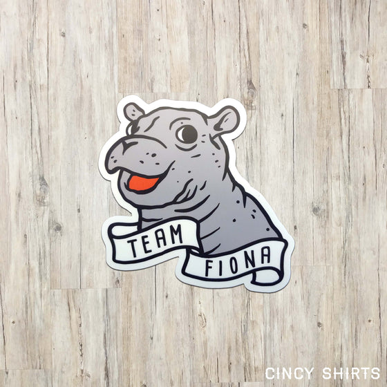 Team Fiona Hippo Banner Window Cling