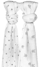 Muslin Swaddle Blanket- Feather & Polka Dot