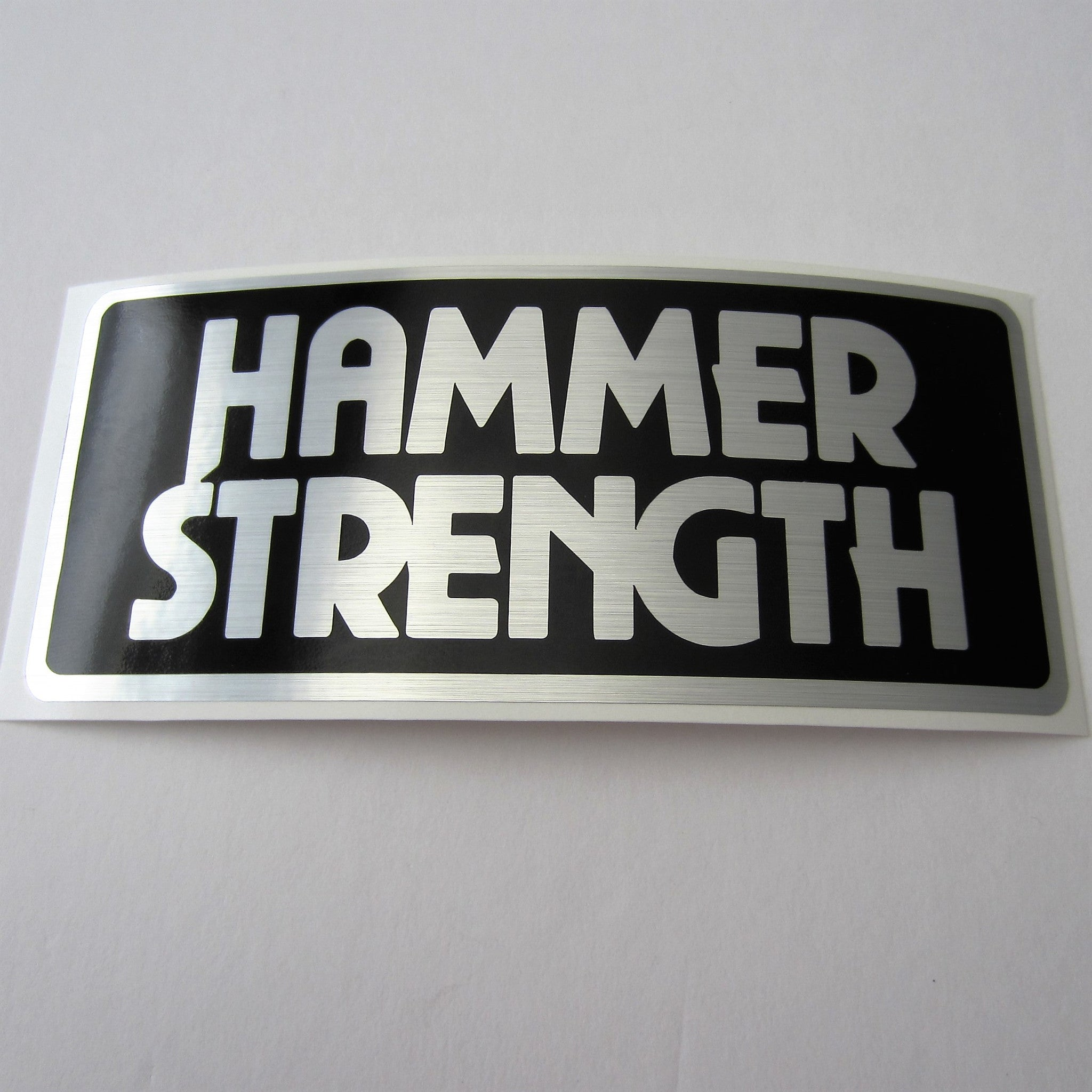 "Hammer Strength Brushed Silver Decal 6"" x 3"""