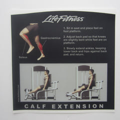 Life Fitness Signature Calf Extension Instruction Decal