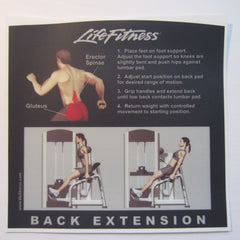 Life Fitness Signature Back Extension Instruction Decal