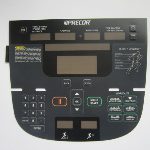 Precor P30 835 Full Body Elliptical Overlay Keypad