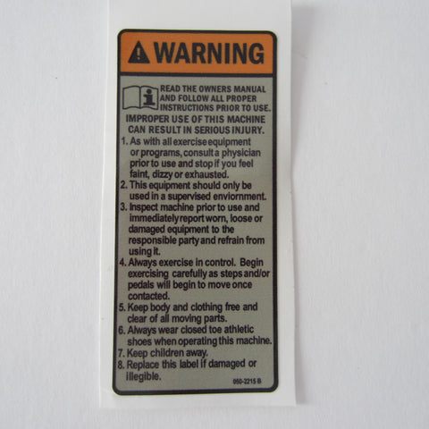 Schwinn AC Spin Bike Warning Decal