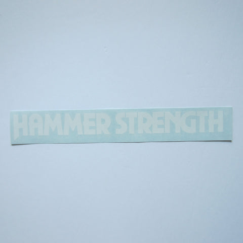 "Hammer Strength Decal White 13 3/4"" x 1.5"""