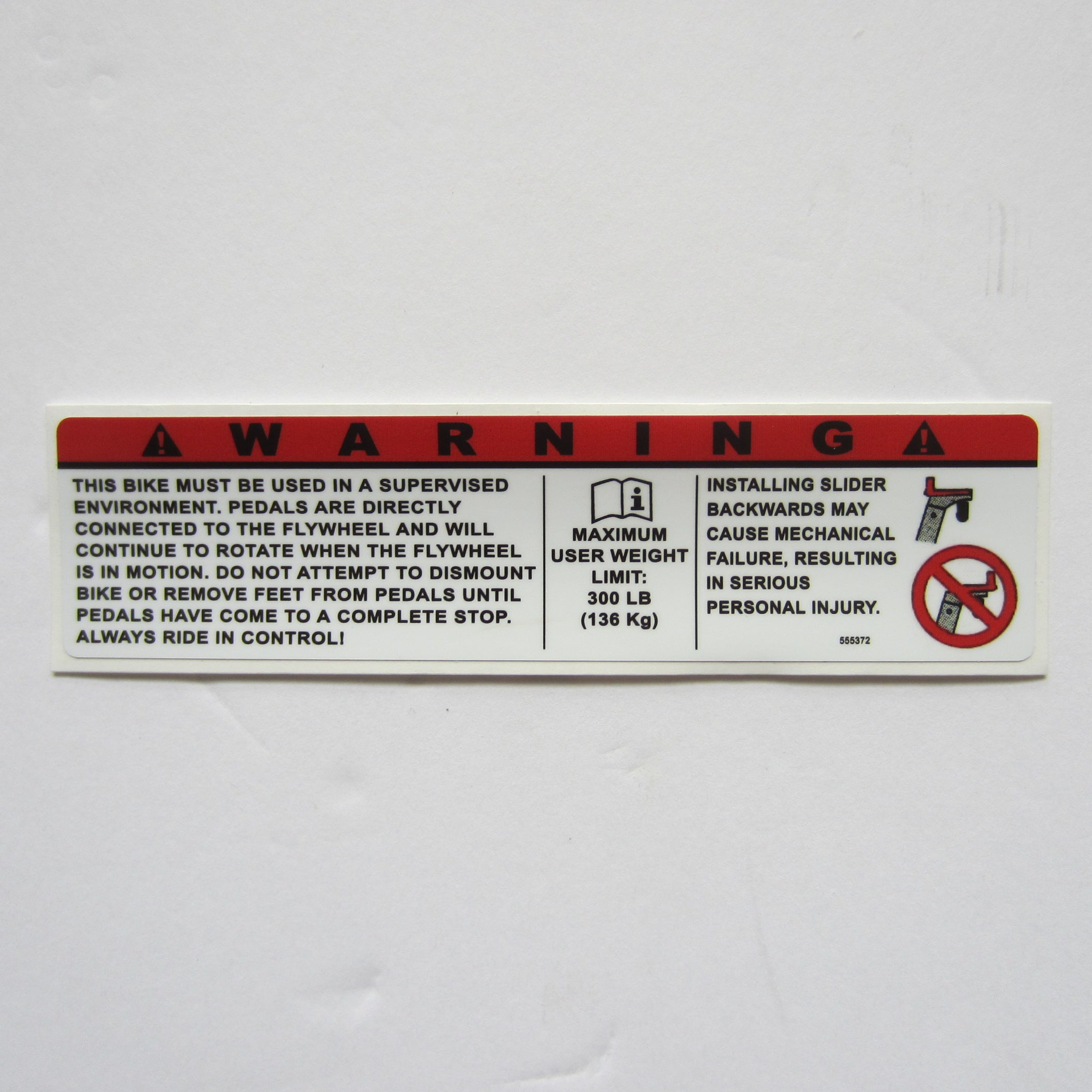 "Keiser Warning Decal  6"" x 1 1/2"""