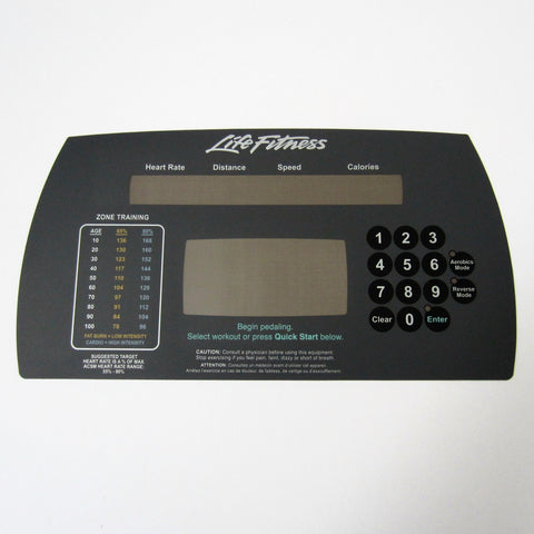 Life Fitness 91Xi Upper Display Overlay