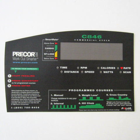 Precor C846 Upper Display Overlay