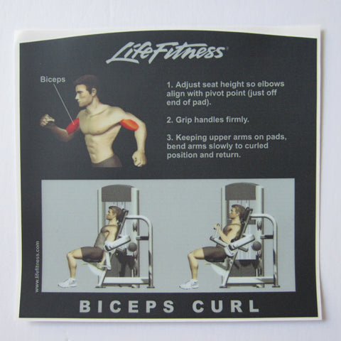 Life Fitness Signature Bicep Instruction Decal