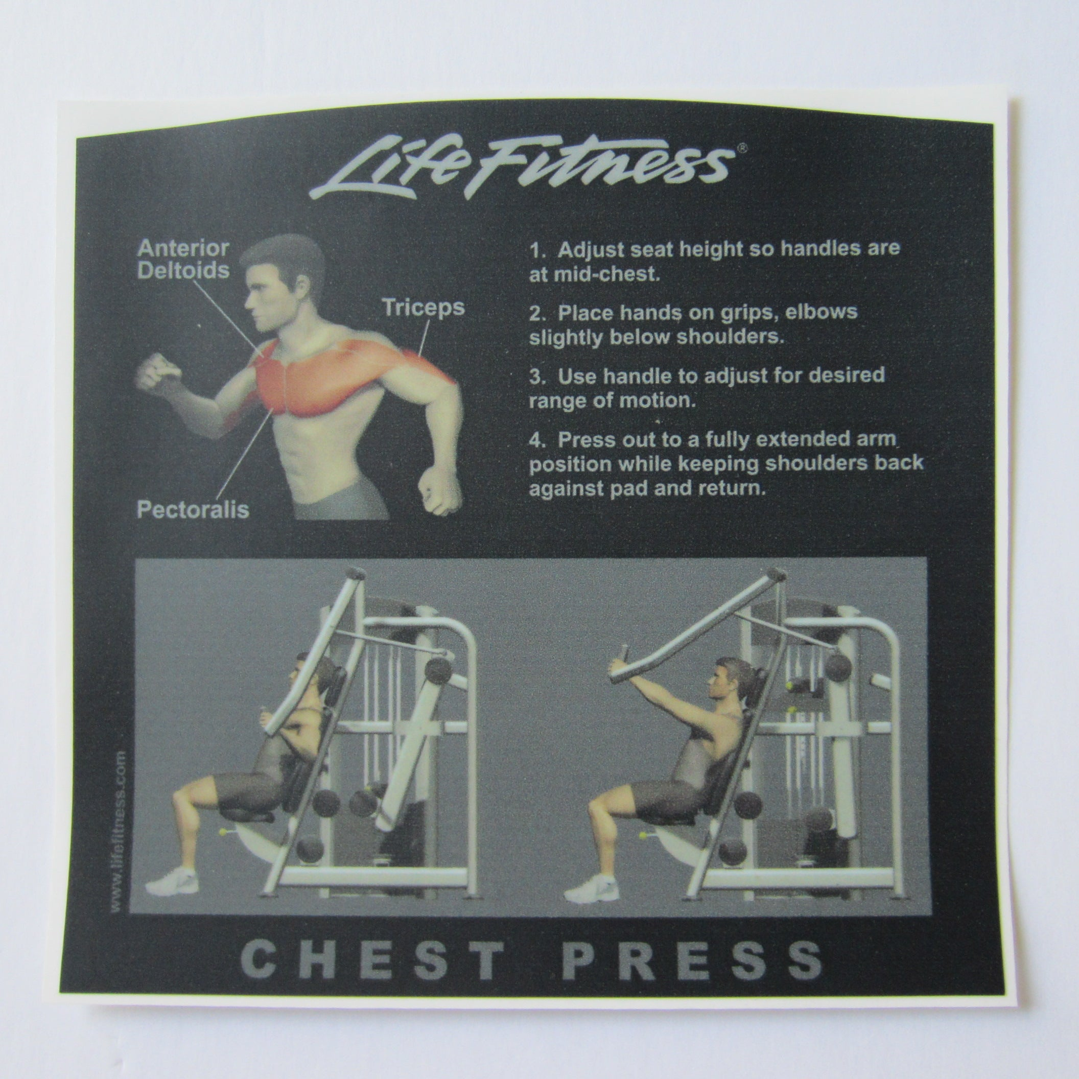 Life Fitness Signature Chest Press Instruction Decal