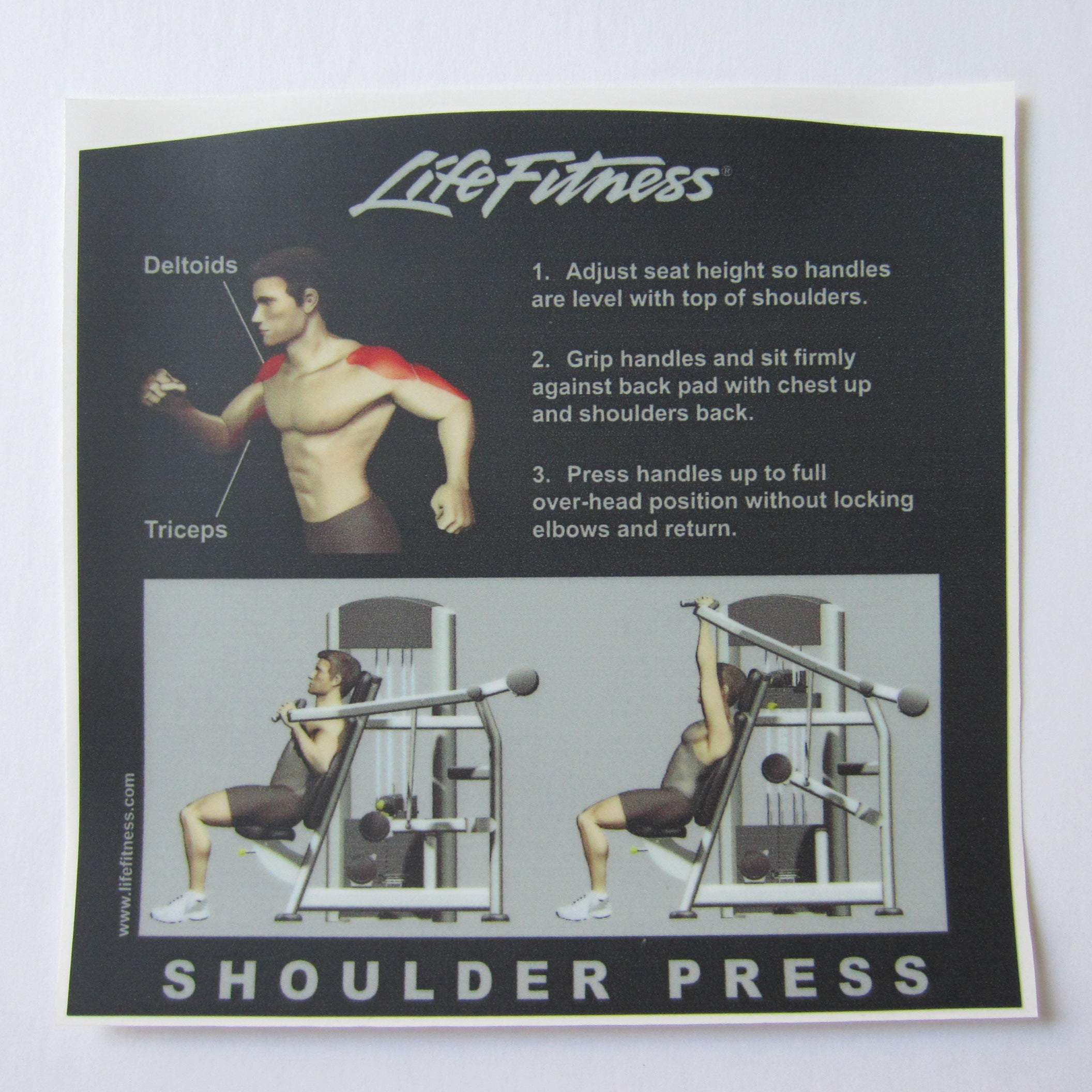 Life Fitness Signature Shoulder Press Instruction Decal