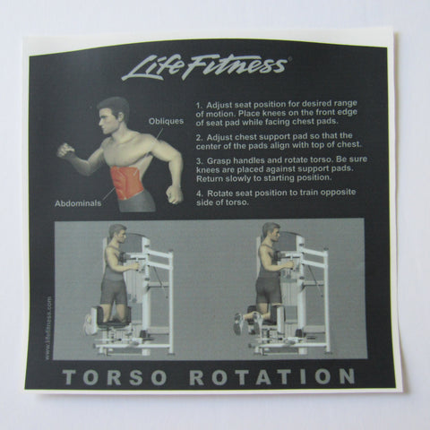 Life Fitness Signature Torso Rotation Instruction Decal