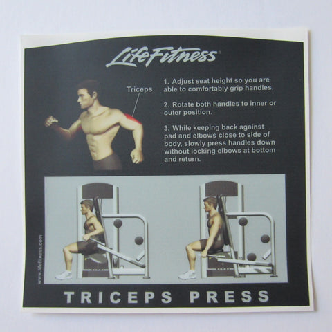Life Fitness Signature Triceps Press Instruction Decal