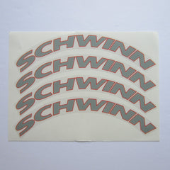 Schwinn AC Fly Wheel Decal Set Grey / Red on Clear (4)