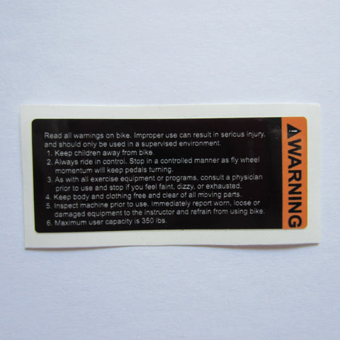 Spin Bike Warning Decal