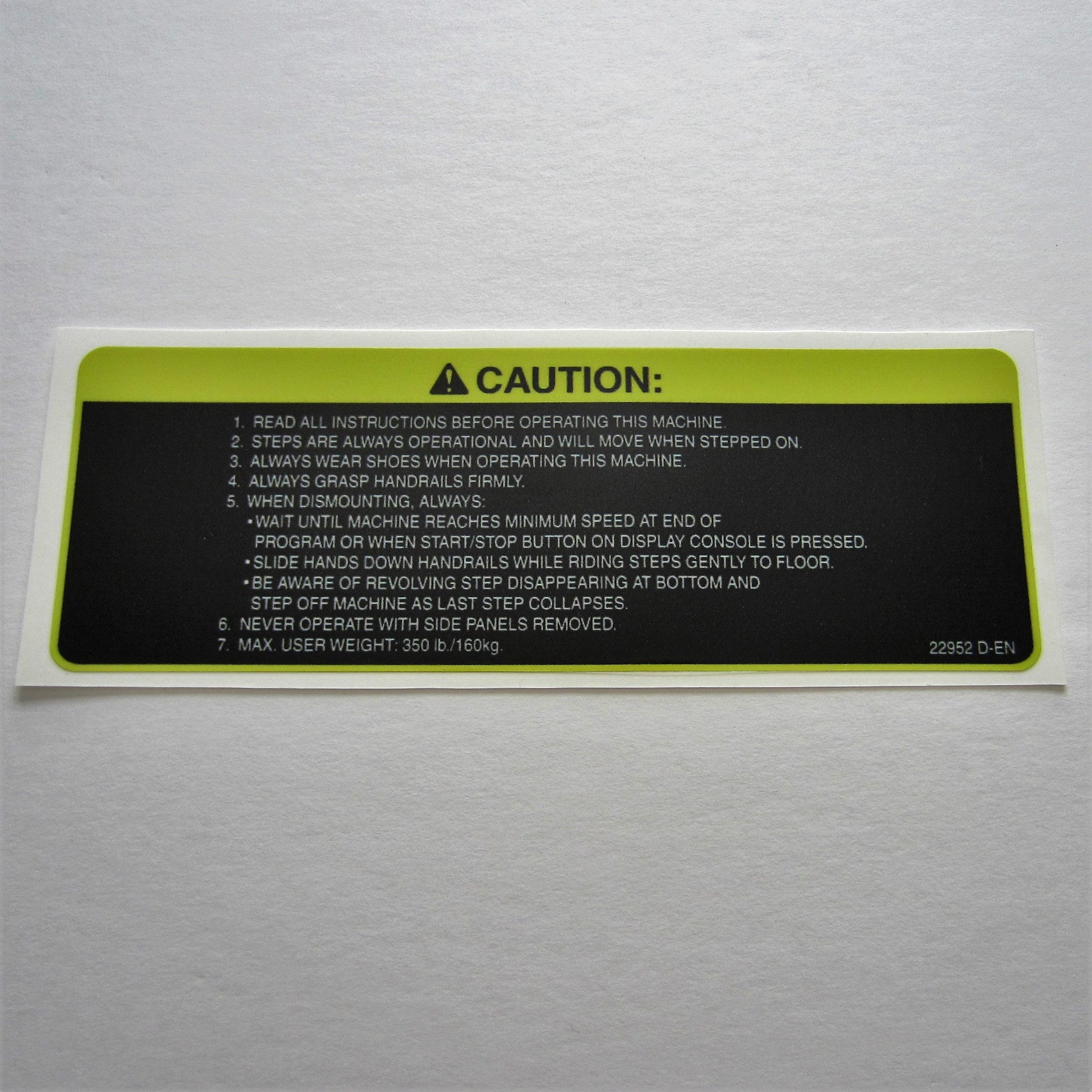 StairMaster StepMill Caution Decal