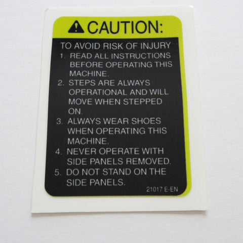 StairMaster Stepper Caution Decal