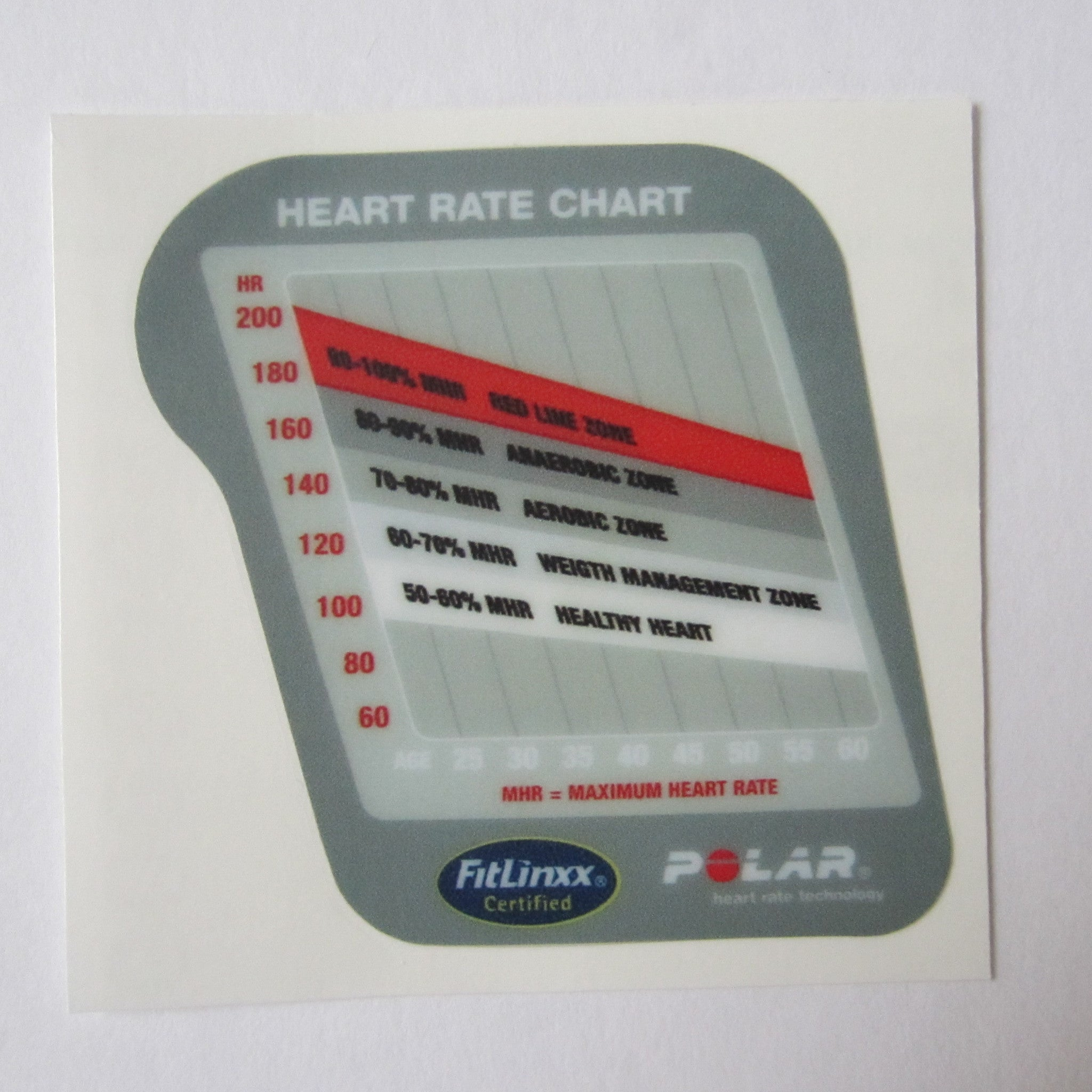6300 Upright / 6400 Recumbent Heart Rate Chart Decal