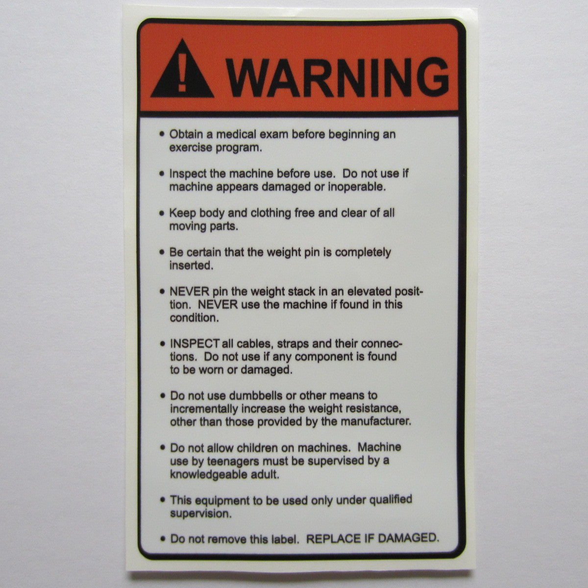 "Warning Decal 6-1/2"" x 4"""