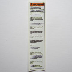 "Warning Decal 7-1/2"" x 1-3/4"""