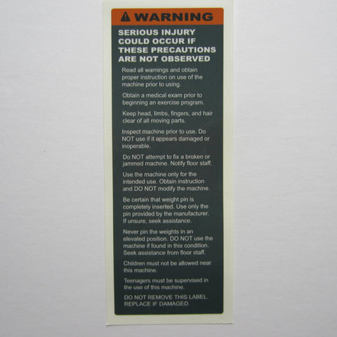 "Warning Decal 7-1/2"" x 2-3/4"""