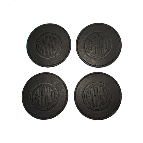Black Leather Coasters - Set of 4 - Simply Bend Souvenirs