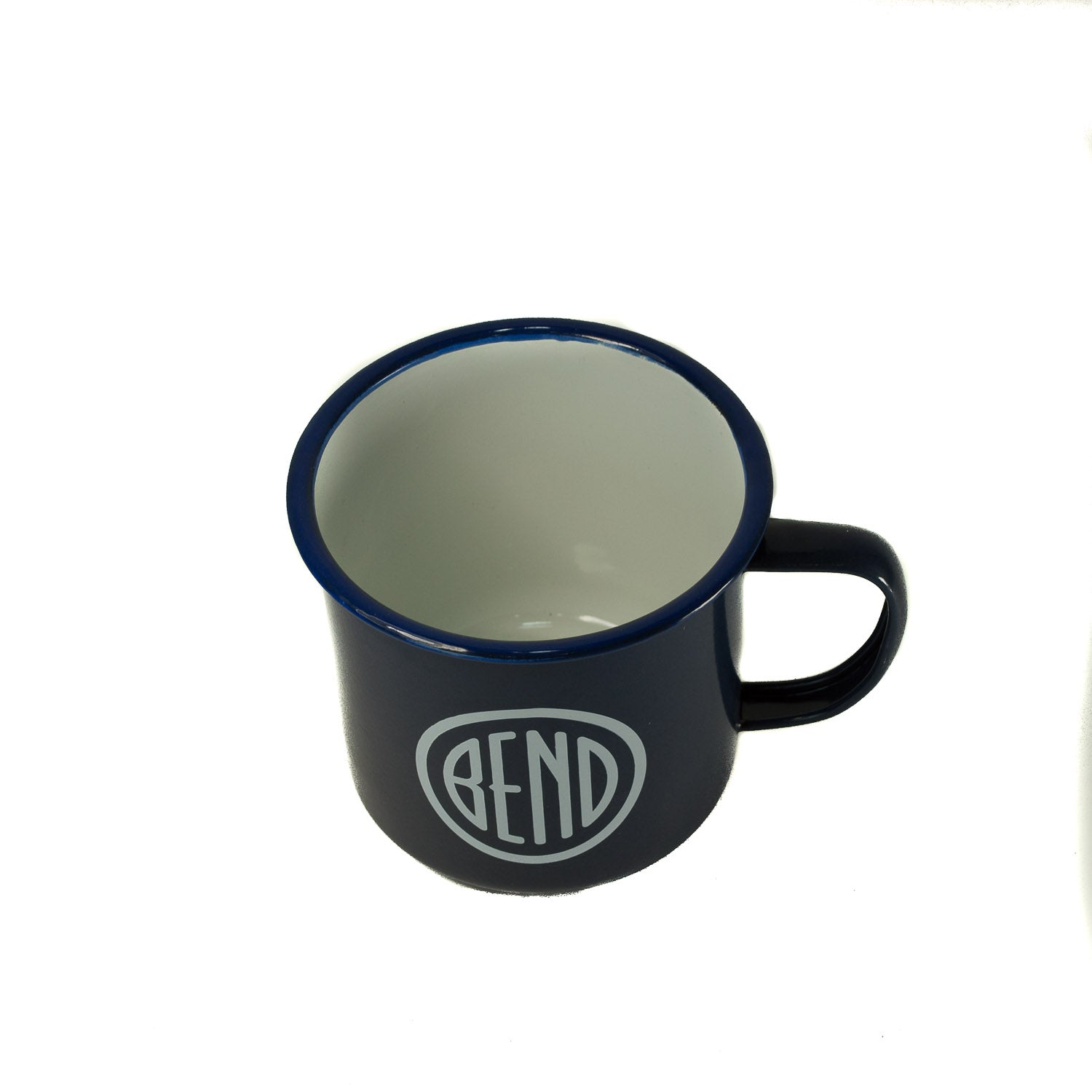 Blue metal enamel cup with white Bend Oregon city logo