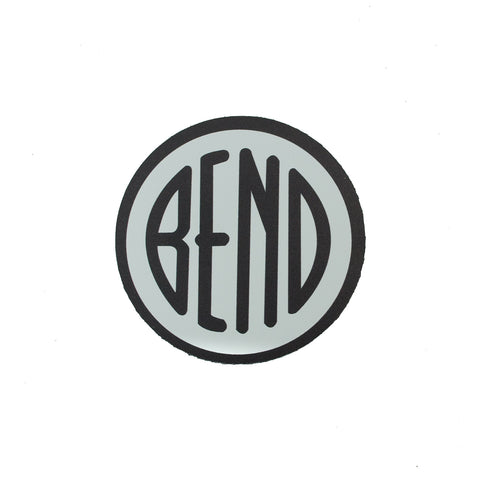 Bend Oregon logo car magnet, white with black letters and outer circle