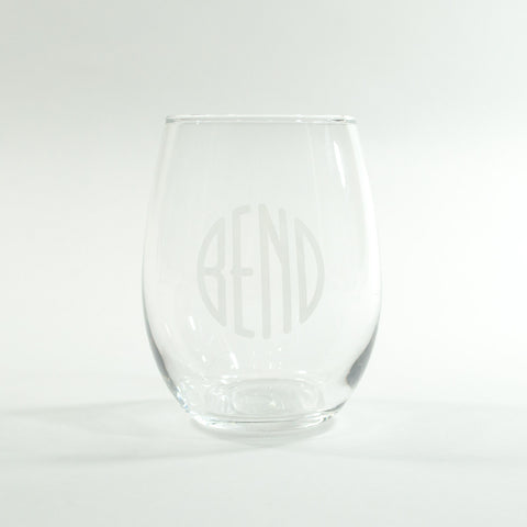 BEND Logo Stemless White Wine Glass - Simply Bend Souvenirs