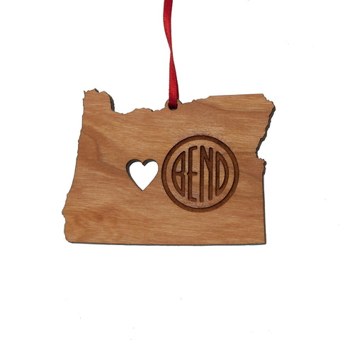 Wood Bend Oregon Ornament, laser engraved with heart